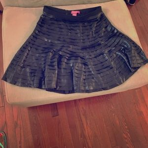 Layered faux black leather fitted flare skirt